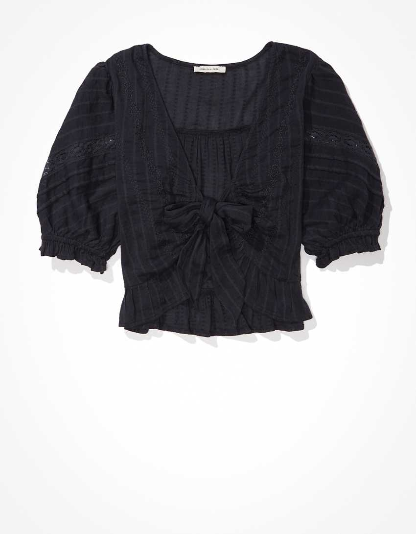 AE Puff-Sleeve Tie-Front Top
