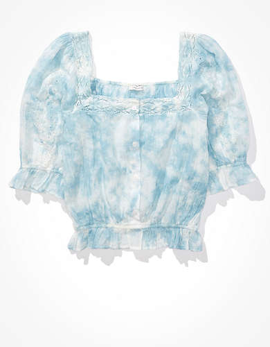 AE Tie-Dye Square Neck Bubble Top