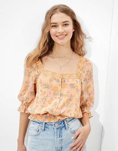 AE Floral Square Neck Bubble Top