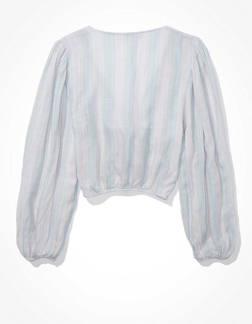 AE Striped Tie-Front Blouse
