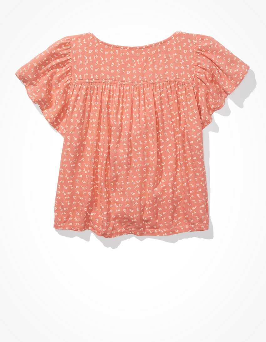 AE Flutter-Sleeve Button-Up Babydoll Blouse