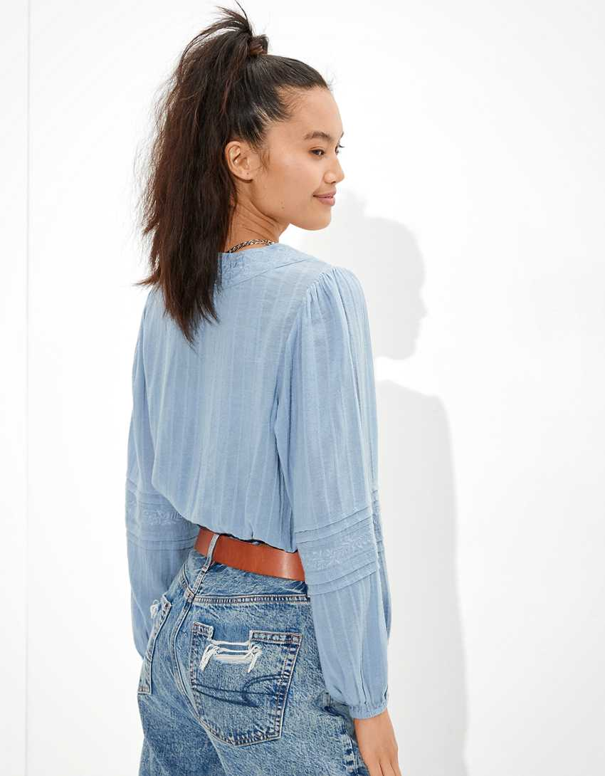 AE Cropped Tie-Waist Wrap Top
