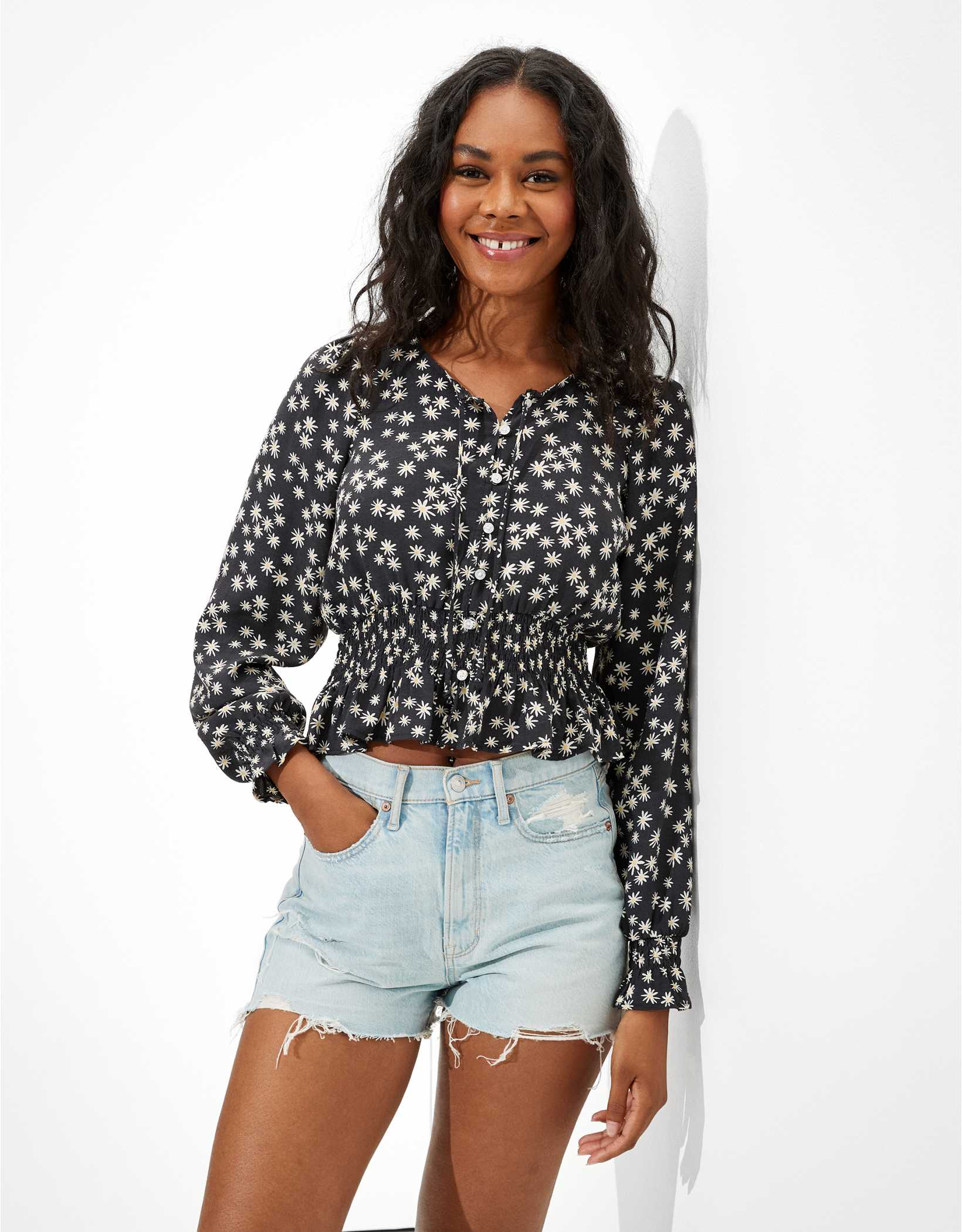 AE Printed Button-Up Bubble Top