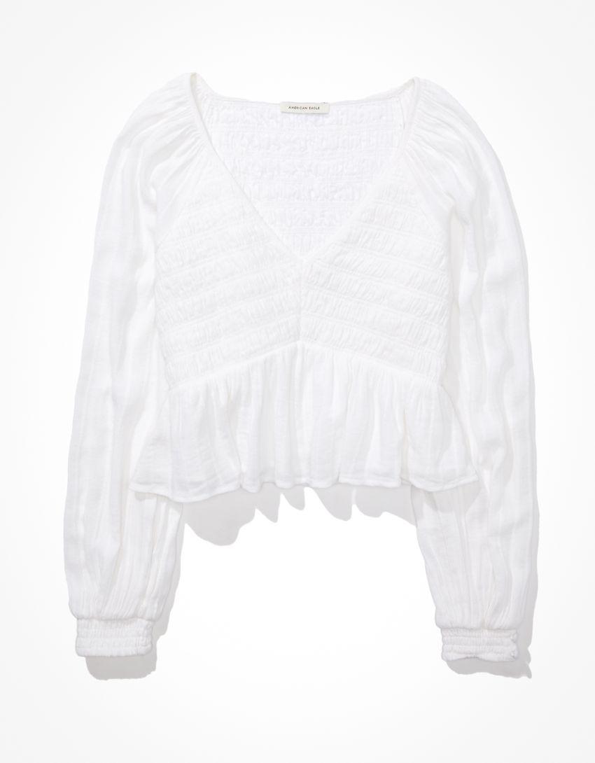 AE Long-Sleeve Smocked Babydoll Top