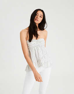 f77aca220a56 Shoptagr   Ae Lace Up Tube Top by American Eagle Outfitters