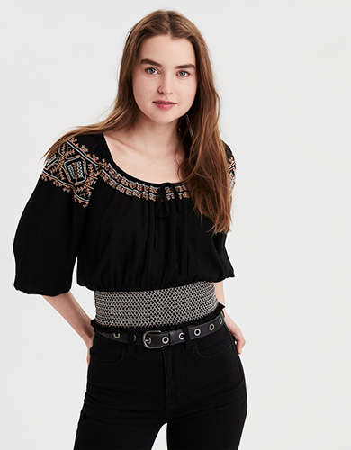 AE Smocked Embroidered Blouse