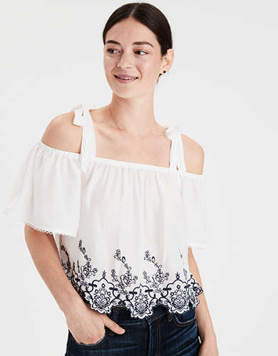 AE Embroidered Cold Shoulder Top