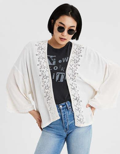 AE Embroidered Lace Trim Kimono