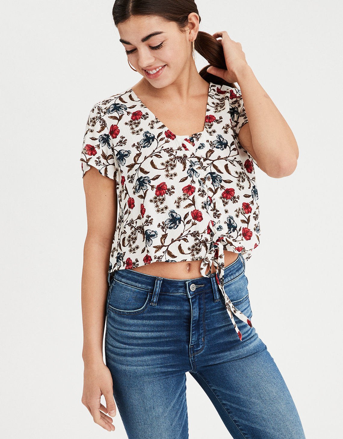 e30be4332d80db AE Floral Lace Up Crop Top. Placeholder image. Product Image