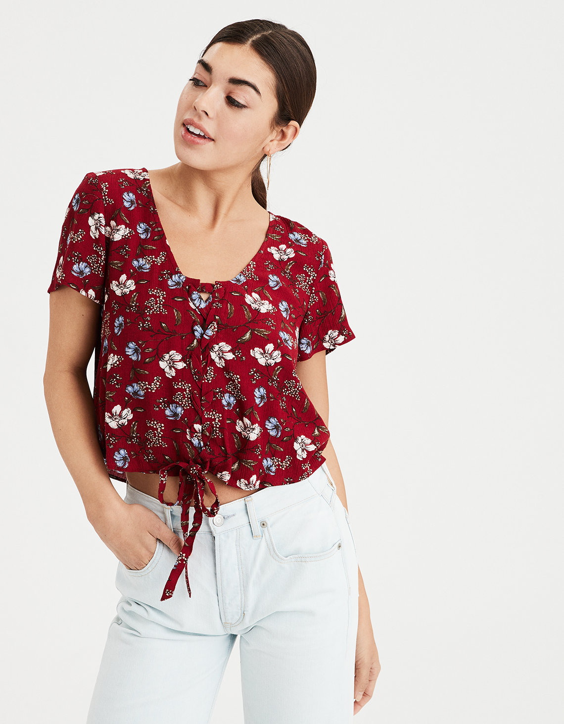 Ae Floral Lace Up Crop Top Red American Eagle Outfitters