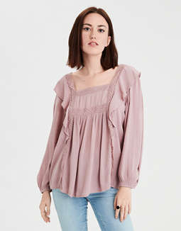 Ae Ruffle Peasant Top by American Eagle Outfitters