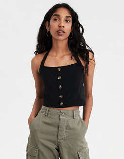 Ae Button Front Halter Top by American Eagle Outfitters