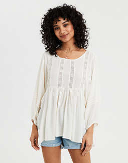 Ae Long Sleeve Lace Inset Tunic by American Eagle Outfitters