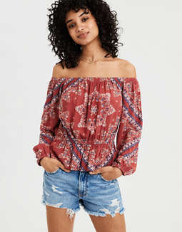 AE Off-The Shoulder Puff Sleeve Top