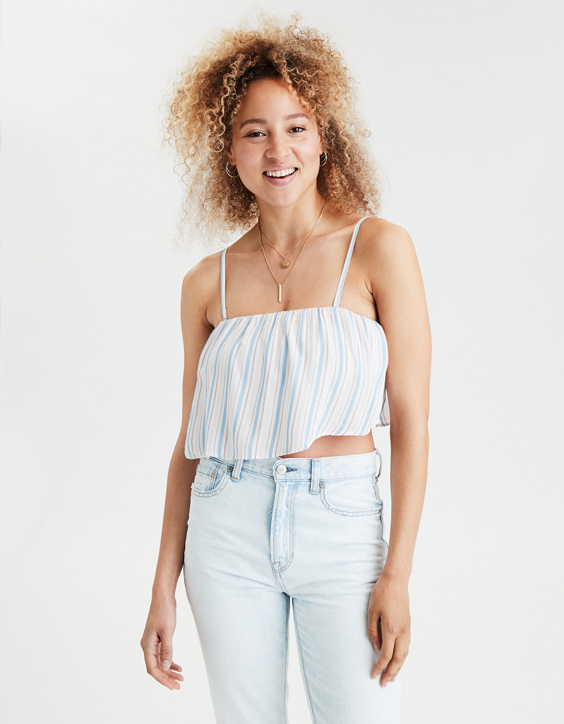 AE Ruffle Overlay Tube Top