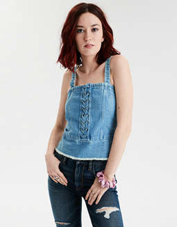 AE Denim Lace Up Tank Top