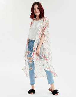 Ae Chiffon Floral Kimono by American Eagle Outfitters