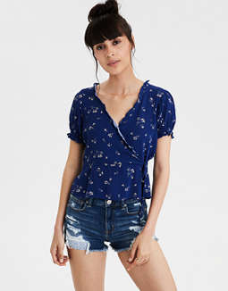 AE Short Sleeve Wrap Front Top