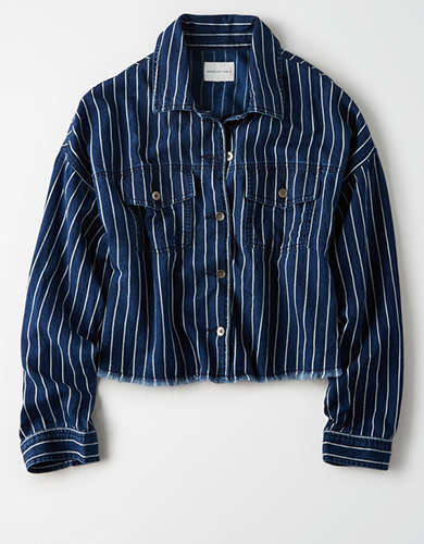 AE Striped Cropped Denim Button Up Shirt