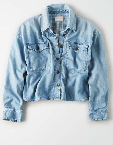 AE Plaid Lined Denim Shirt