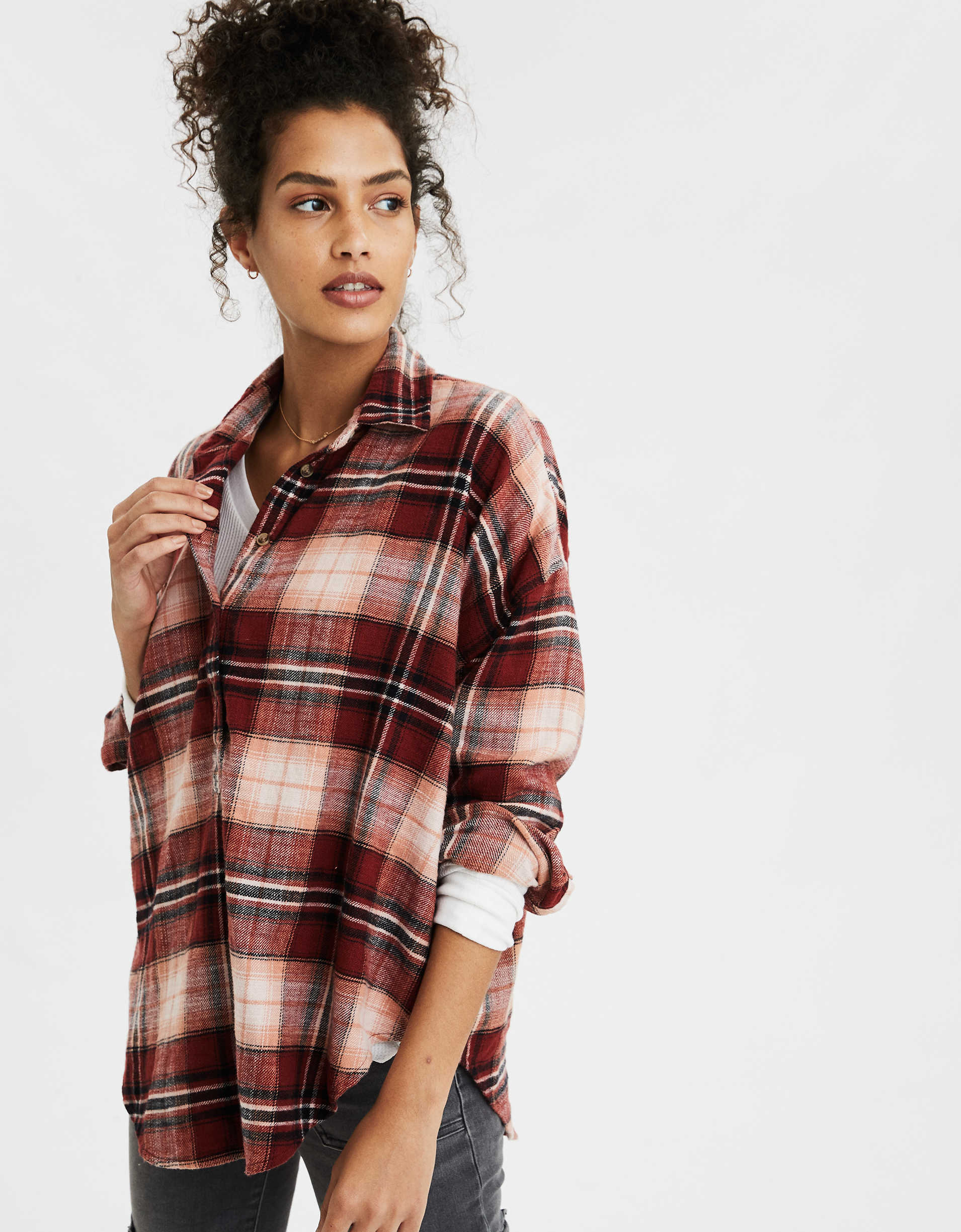 AE Plaid Long Sleeve Button Up Shirt