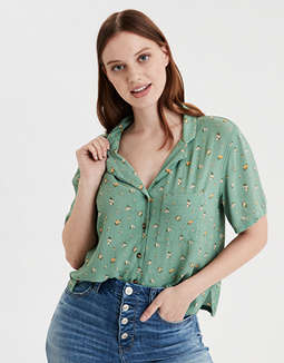 AE Printed Short Sleeve Button Down Shirt