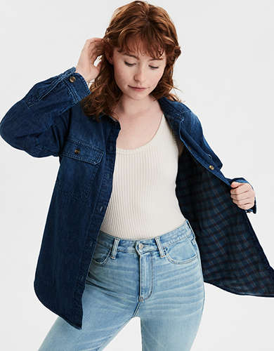 AE Soft Plush Lined Denim Button Up Shirt