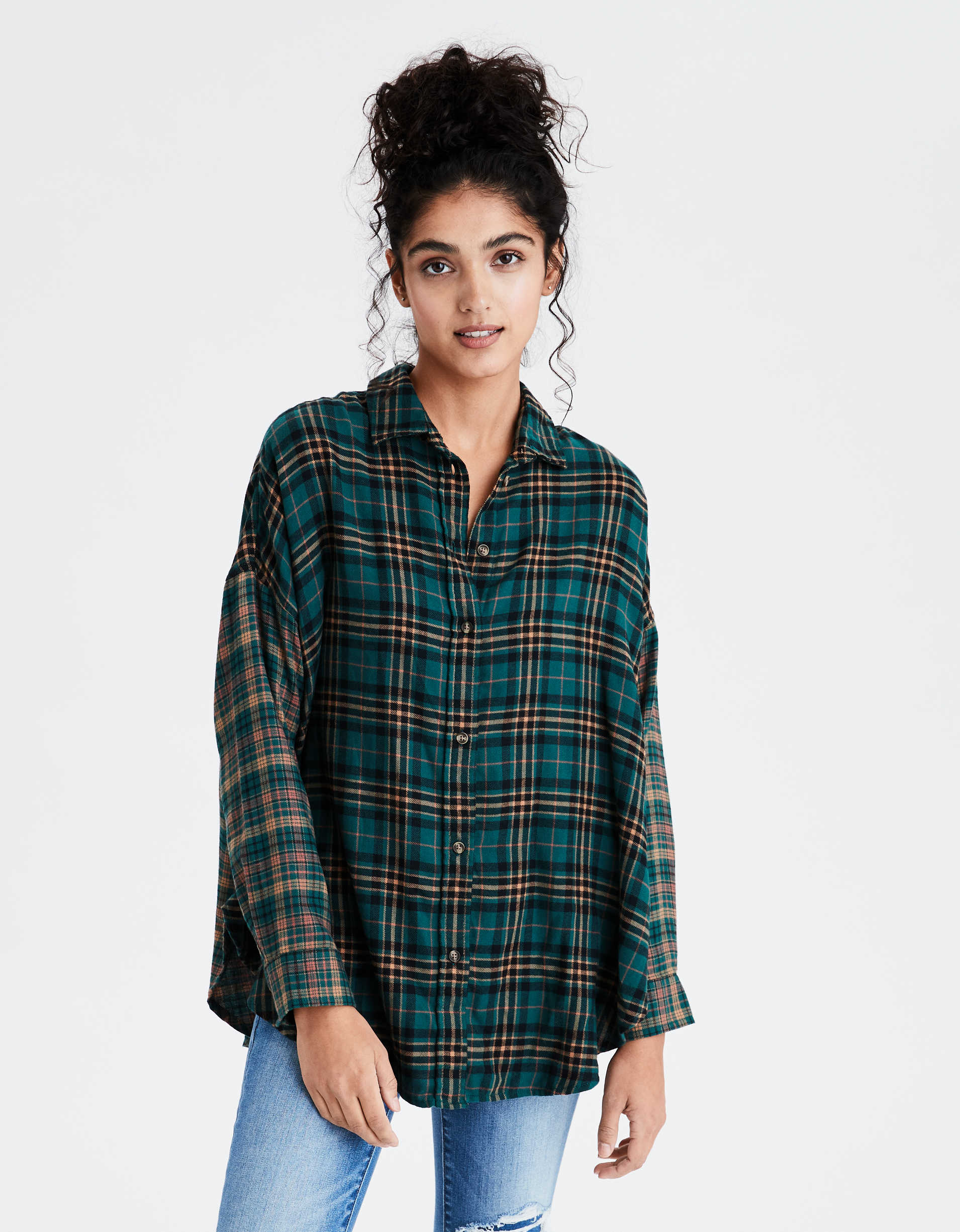 AE Oversized Plaid Button Up Shirt