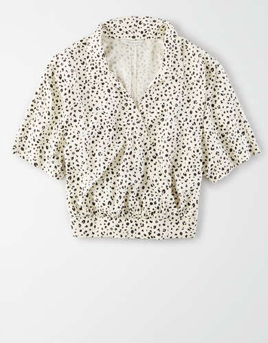 AE Printed Wrap Front Shirt