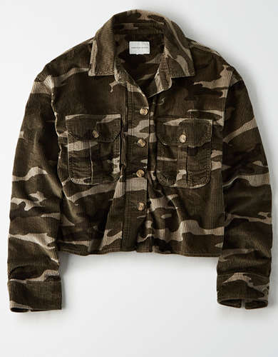 AE Camo Corduroy Cropped Button Up Shirt