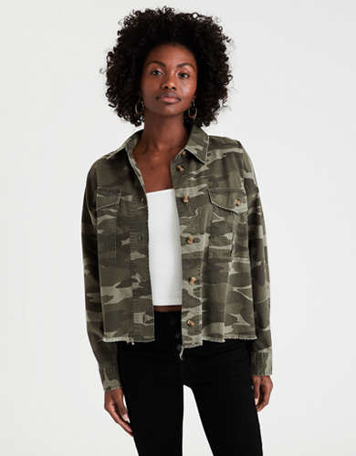 AE Denim Camo Button Up Shirt Jacket