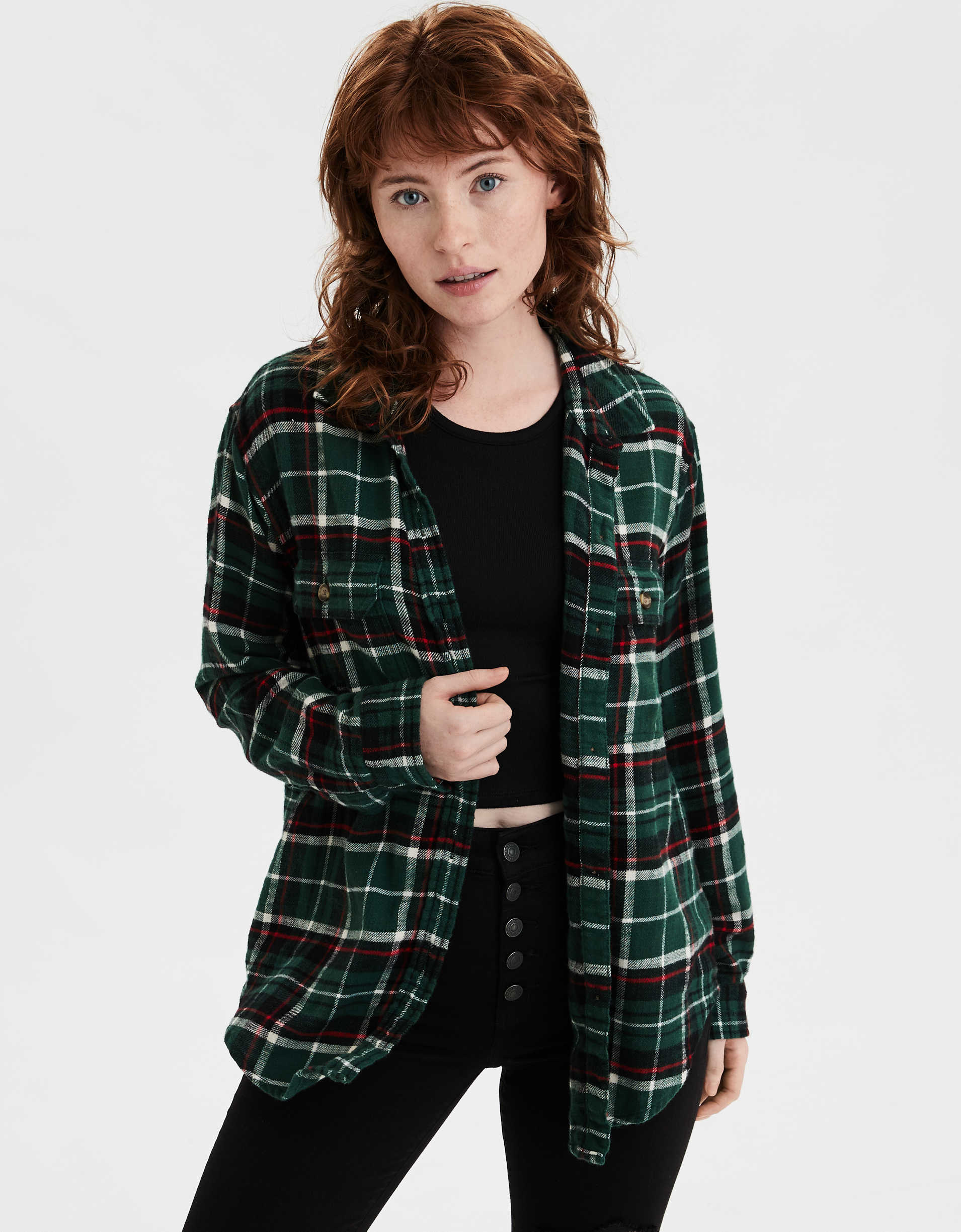 AE Plaid Cabin Button Up Shirt