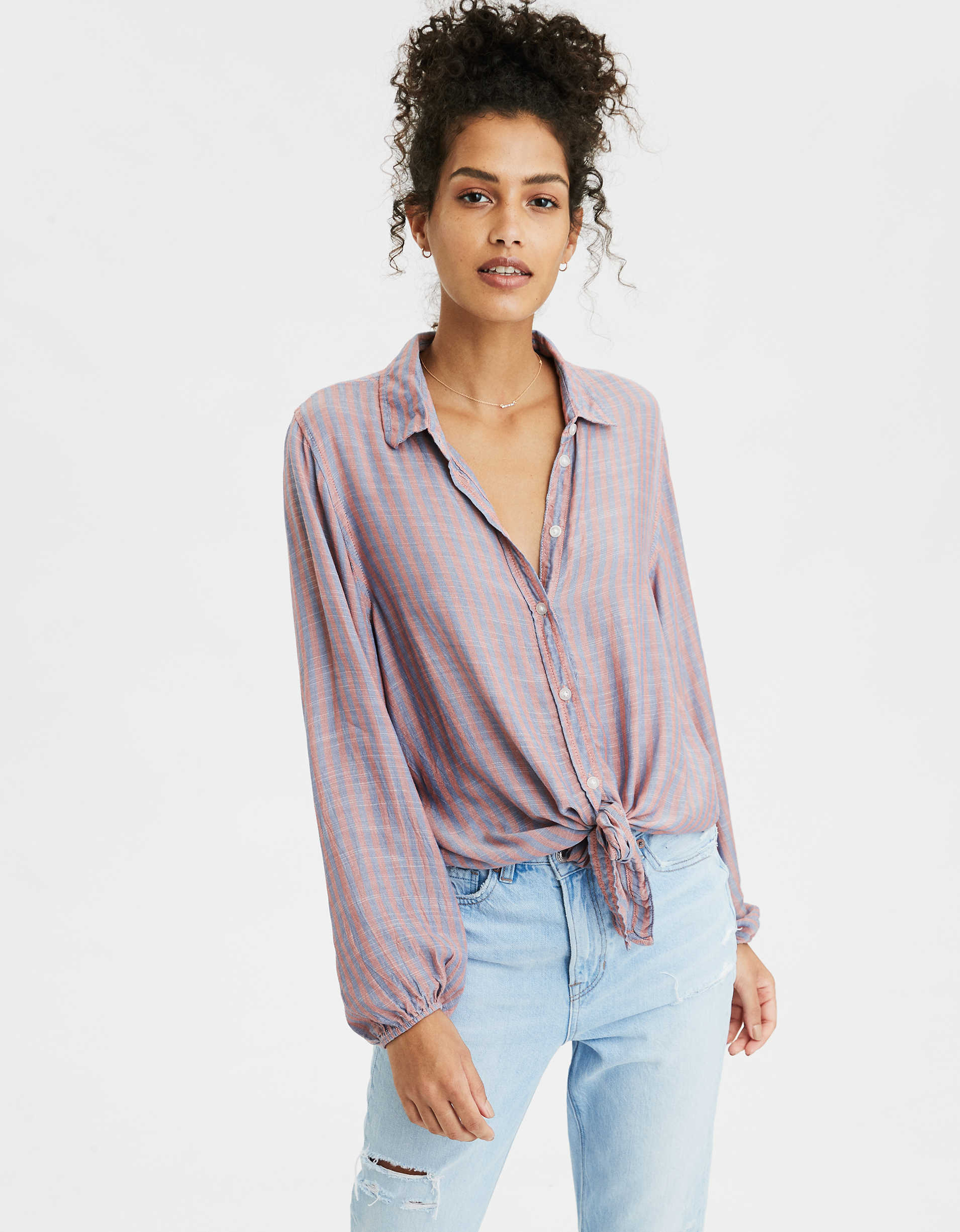 AE Tie Front Button Up Shirt