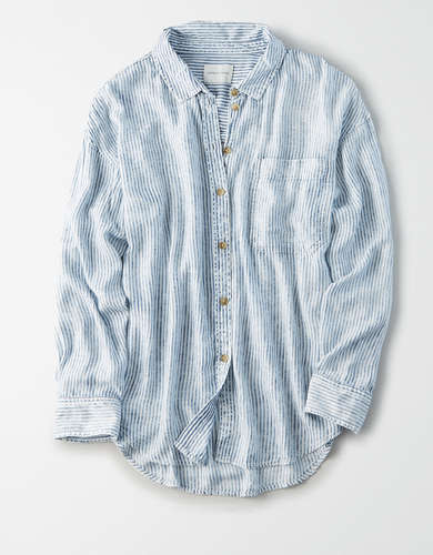 AE Striped Oversized Button Up Shirt