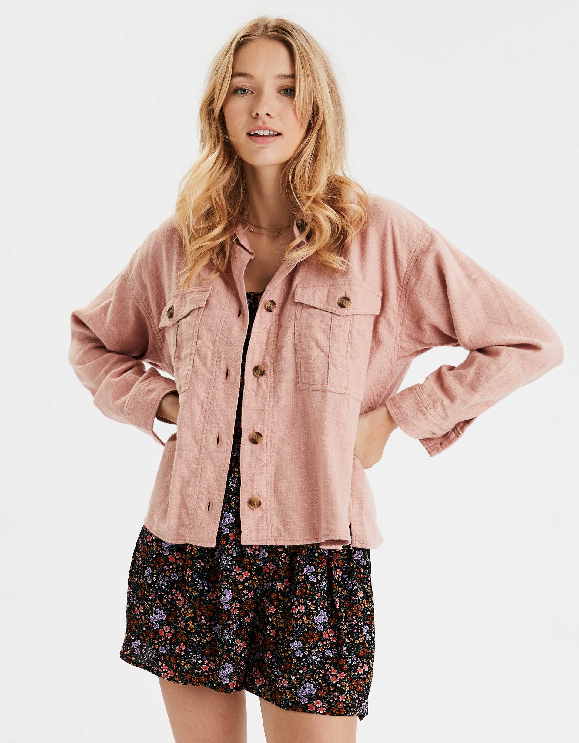 AE Cropped Button Up Shirt
