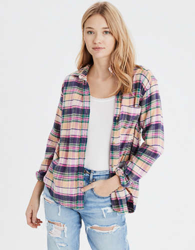 AE Plaid Oversized Button Up Shirt