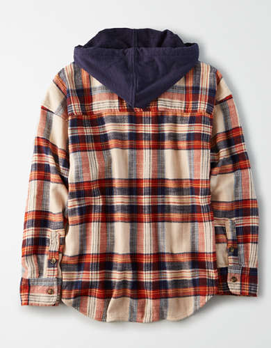 AE Plaid Hooded Button Up Shirt