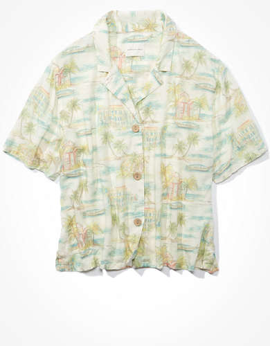 AE Tropical Short Sleeve Button Front Shirt