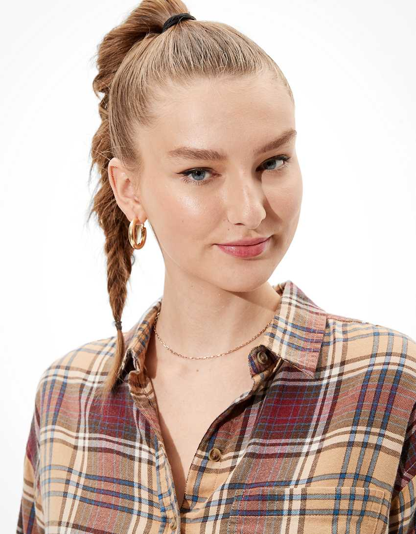 AE Cropped Flannel Shirt
