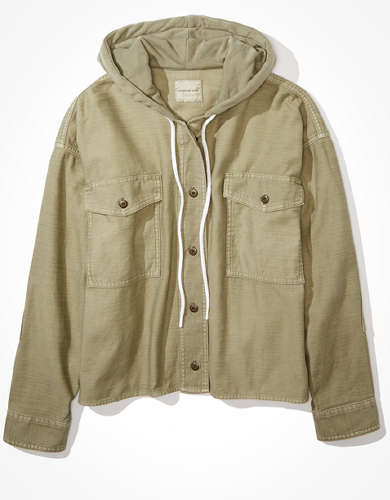 AE Hooded Button Up Military Shirt
