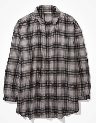 AE Oversized Flannel Button Up Shirt
