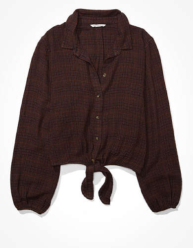 AE Plaid Tie Front Button Up Shirt