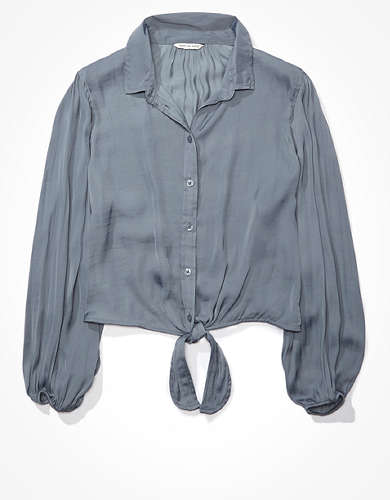 AE Silky Tie Front Button Up Shirt