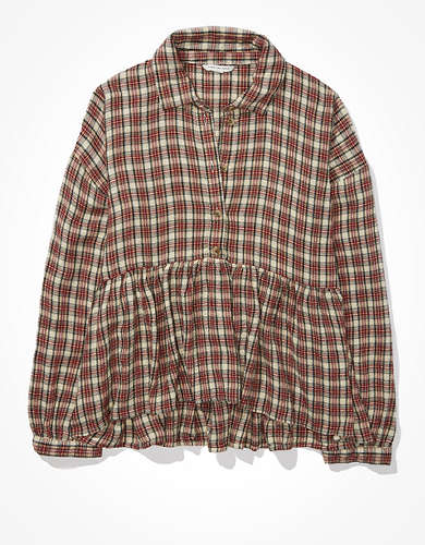 AE Plaid Flannel Babydoll Top