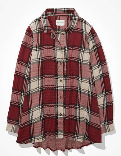 AE Plaid Tunic Flannel Shirt