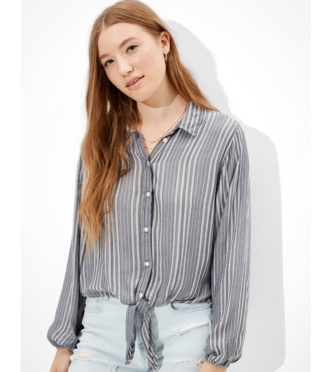 American Eagle AE Striped Button-Up Shirt