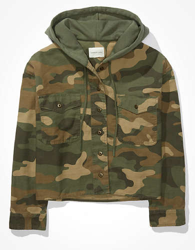 AE Cropped Camo Shirt Jacket