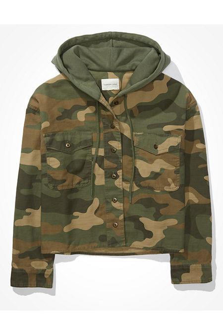 AE Cropped Camo Shirt Jacket
