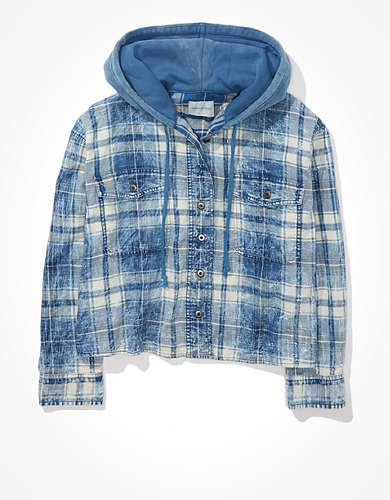 AE Plaid Hooded Button-Up Shirt