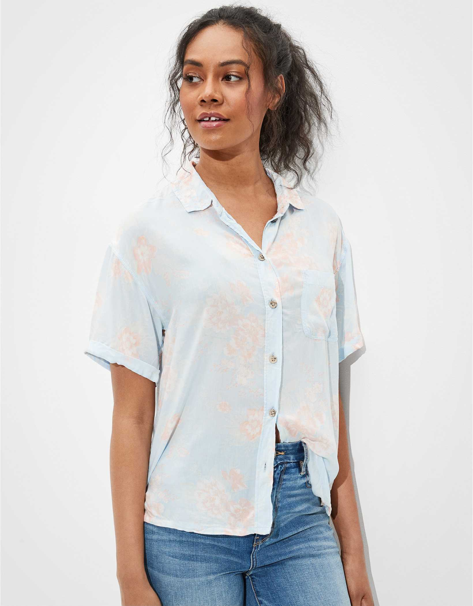 AE Cropped Resort Button-Up Shirt